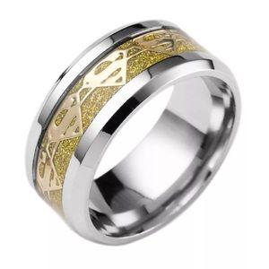 Gold Carbon Fiber Superman Symbol Ring